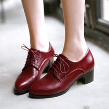 Load image into Gallery viewer, Lace Up Pu Chunky Heel Pumps Platform High Heels Women Shoes 9845