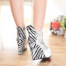 Load image into Gallery viewer, Round Toe Sequined Platform Ankle Boots Wedges Heels Shoes 3852