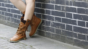 Soft Leather Lace Up Women Ankle Boots Shoes Woman  3352
