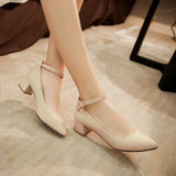Ankle Straps Pointed Toe Pumps Platform High Heels Women Shoes 9315