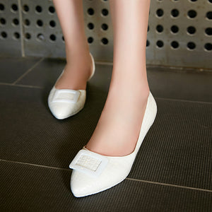Stone Grained Platform Wedges Women Shoes 3242