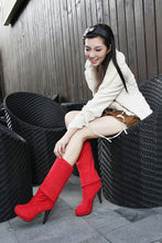 Load image into Gallery viewer, Women Over the Knee Boots High Heels Platform Flock Shoes Woman 2016 3584