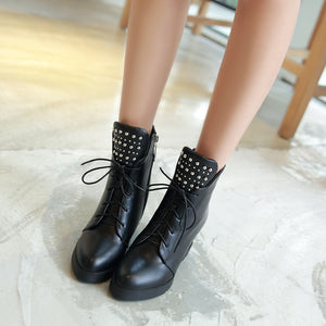 Studded Wedges Boots High Heels Women Shoes Fall|Winter 4870