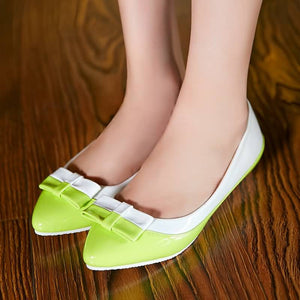 Knot Women Flats Pointed Toe Mix Colors Ballet Shoes