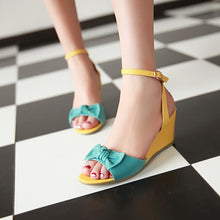 Load image into Gallery viewer, Fashion-Bow-Ankle-Straps-Wedges-andals-Women-Platform-Shoes 4820