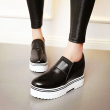 Load image into Gallery viewer, Women Wedges Pu Leather High Heel Loafers Platform Shoes