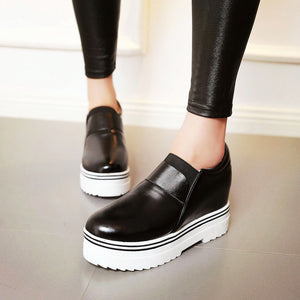 Women Wedges Pu Leather High Heel Loafers Platform Shoes