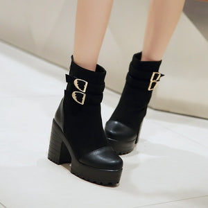 Buckle Ankle Boots High Heels Women Shoes Fall|Winter 8276