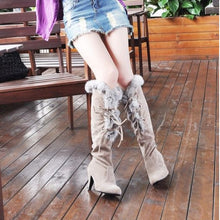 Load image into Gallery viewer, Rabbit Fur Women Knee High Boots Winter Snow Boots High Heels Shoes Woman  3348