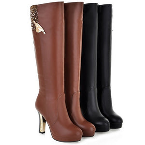 Rhinestone Knee High Boots Black and Brown High Heels Platform Shoes Woman