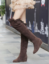 Load image into Gallery viewer, Slim Faux Suede Wedges Over the Knee Boots Women 6947