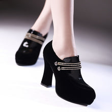 Load image into Gallery viewer, Black Pumps Rhinestone High Heels Platform Shoes Woman