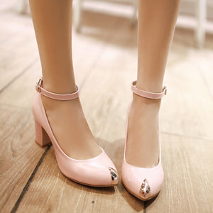 Ankle Straps Metal Chunky Heel Pumps Platform High Heels Fashion Women Shoes 4294