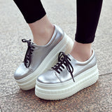 Women Wedges Round Toe Lace Up Loafers Platform Shoes