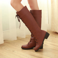 Load image into Gallery viewer, Lace Up Knee High Boots Chunky Low Heels 3496