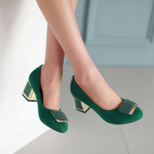 Women Pumps High Heels Thick Heeled Dress Shoes Woman 3408