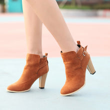 Load image into Gallery viewer, Artificial Suede Ankle Boots Buckle High Heels Shoes Woman 3335
