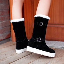 Load image into Gallery viewer, Fur Snow Boots Mid Calf Boots Winter Buckle Platform Shoes Woman 3282 3282