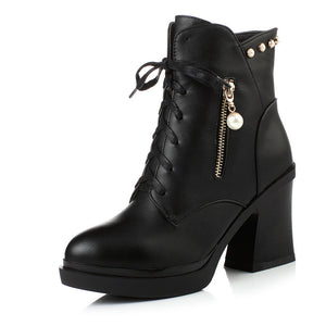 Black Ankle Boots Pearl Platform High Heels Shoes Woman