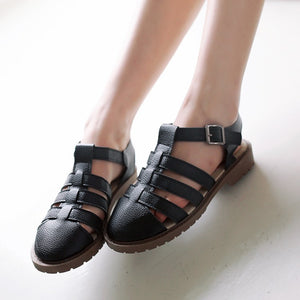 Buckle Covered T Straps Gladiator Sandals 8685