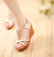 Load image into Gallery viewer, Beads Platform Sandals Buckle Women Wedges Shoes Woman
