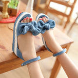 Denim Platform Sandals Ankle Straps Bowtie Wedges Shoes Woman