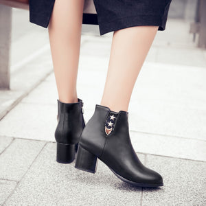 Women Ankle Boots Zipper Pu Leather High Heels Shoes Woman 7577