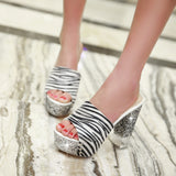 Women Slippers Glitter High Heels Flower Printed Platform Shoes Woman 9940