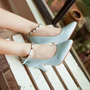 Studded Ankle Straps Women Pumps High Heels Spike Heel Dress Shoes Woman