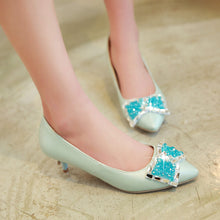 Load image into Gallery viewer, Rhinestone Bow Stiletto Heel Pumps Platform High Heels Fashion Women Shoes 7204
