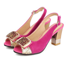 Load image into Gallery viewer, Sequined High Heels Slingbacks Sandals Chunky Heel Pumps 8073