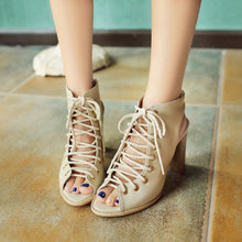 Load image into Gallery viewer, Peep Toe Gladiator Sandals High Heels Chunky Heel Pumps 7094