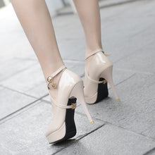Load image into Gallery viewer, Women Pumps Patent Leather Ankle Straps High Heels Platform Shoes Woman 8222
