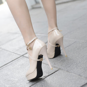 Women Pumps Patent Leather Ankle Straps High Heels Platform Shoes Woman 8222