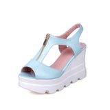 Women Sandals Zipper Wedges Platform High-heeled Shoes