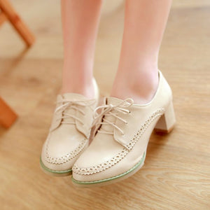 Women High Heels Shoes Lace Up Platform Pumps 7916