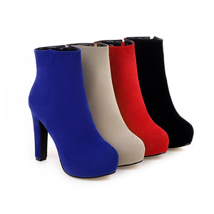 Ankle Boots for Women Faux Suede Platform High Heels Autumn Winter Zipper Shoes Woman 9852