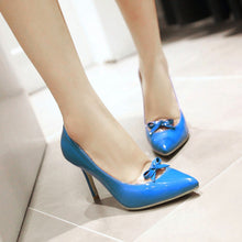 Load image into Gallery viewer, Womens High Heel Shoes Pointed Toe Lady Pumps Party Dress Shoes Bow