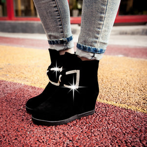Rhinestone and Bow Wedges Boots Women Shoes Fall|Winter 1497