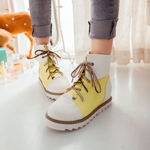Load image into Gallery viewer, Women Ankle Boots Lace Up Mixed Colors Platform Shoes Woman 2016 3521