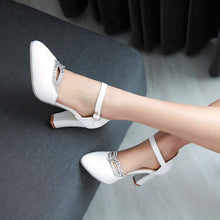 Load image into Gallery viewer, Ladies Ankle Straps High Heels Rhinestone Sexy Pumps Work Shoes Woman