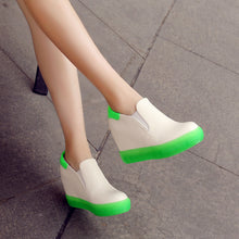 Load image into Gallery viewer, Women Wedges Height Increasing Round Toe Loafers Platform Shoes