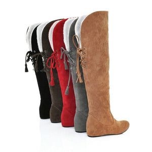 Cross Strap Knee High Boots Wedges Artificial Suede Fur Snow Boots Shoes Woman 3318 3318