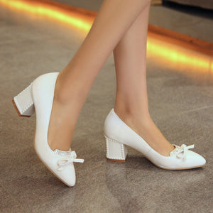Bow Rhinestone Pumps Platform High Heels Fashion Women Shoes 7729