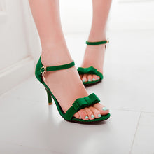 Load image into Gallery viewer, Bowtie Sandals Women Ankle Straps Pumps High Heels Spike Shoes Woman