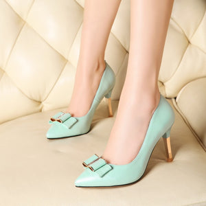 Bowtie Women Pumps Pointed Toe High Heels Spike Shoes Woman