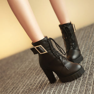 Lace Up Ankle Boots Chunky Heel Pumps Women Shoes Fall|Winter 8070