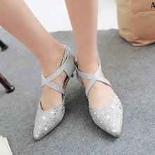 Load image into Gallery viewer, Cross Strap Pointed Toe Sandals Crystal Wedding Shoes 4049
