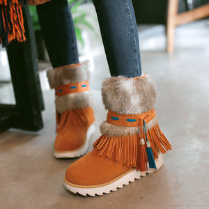 Tassel Women Snow Boots with Fur Winter Platform Shoes Woman 2016 3481