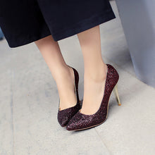 Load image into Gallery viewer, Pointed Toe Glitter High Heels Women Pumps Stiletto Heel Wedding Shoes 2210